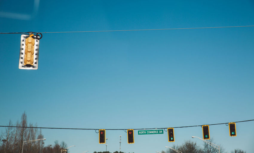 Atlanta Atlanta Ga Atlanta, Georgia Blue Cable City Clear Sky Day Hanging Low Angle View Nature No People Outdoors Sky Spring Traffic Lights Tree Paint The Town Yellow