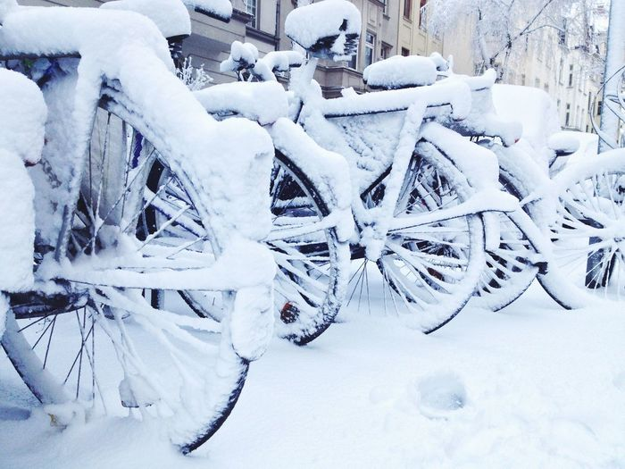 Bikecycle on Street Bikecycle Bike Snow Cold Temperature Snow Day Winter Outdoors No People Nature Close-up Shades Of Winter The Street Photographer - 2018 EyeEm Awards