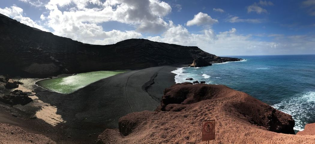 Nature Beauty In Nature Scenics Sea Sky Tranquil Scene Tranquility Water Outdoors Mountain Physical Geography Day Sand No People Cloud - Sky Beach Horizon Over Water Elgolfo Lanzarote