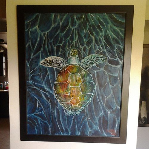 "Wandering Sea Turtle - 24""×30"" - acrylic on canvas - for sale $1000 - ART4SALE Instaart Art ACRYLICART artist art4sale artwork seaturtle sickart supportart superduper collector artcollectors PAINTING professionalartist painting handmade hireme2paint4u Dubeman44"