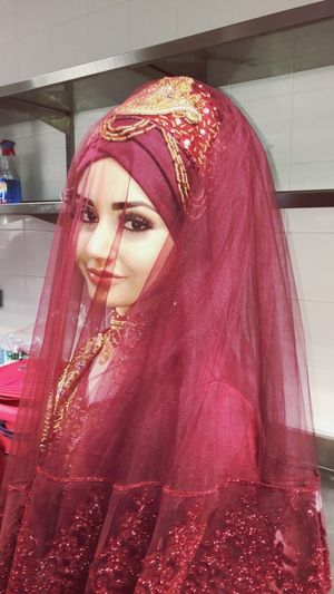 Bride Young Women Portrait Beautiful Woman Red Wedding Dress Beauty Redhead Dyed Hair Close-up