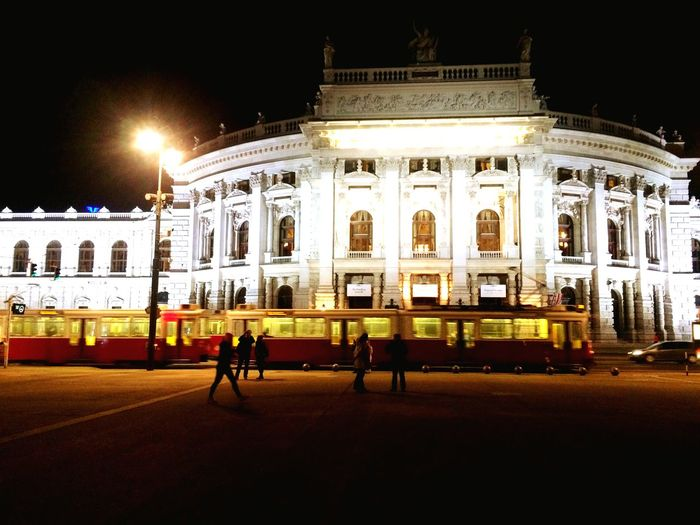 Theater In Vienna Austria Night Photography Tram Travel Nuple Chunsumonpics