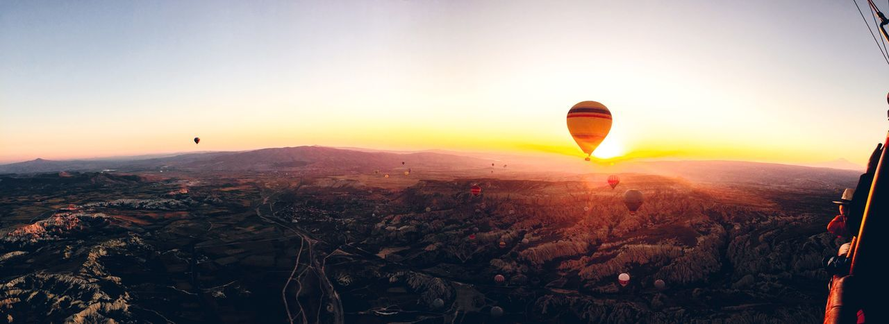 Aerial View Of Hot Air Balloons And Landscape