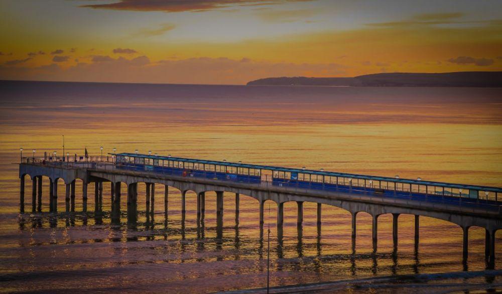 Canon 5d Mark Lll Sea Sunset Sand Horizon Over Water Long Exposure Water Surface Dorset Boscombe Pier