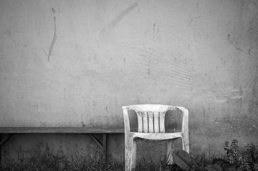 Tranquil scene shot on a walk... Art Art Is Everywhere B&W Magic Black And White Black And White Photography Blackandwhite Chair Close-up Day EyeEm Gallery Nature No People Old Outdoors Seat Tranquil Scene Tranquility