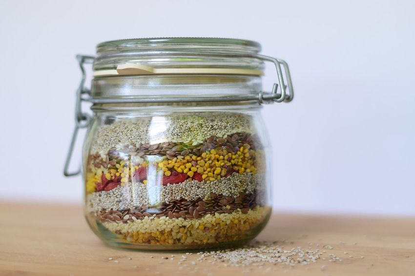 Jar Transparent Food And Drink Focus On Foreground Multi Colored Seeds Nutrition Chia Seeds Healthy Eating Glass - Material Still Life Healthy Food Healthy Lifestyle Health Energy Product Photography The Week Of Eyeem Showcase September EyeEm Gallery Layers And Textures