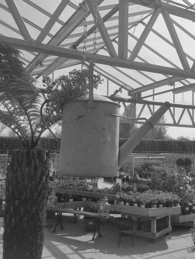 Architecture Black & White Black And White Built Structure Engineering Garden Centre Growth Metallic Nature No People Outdoors Watering Can