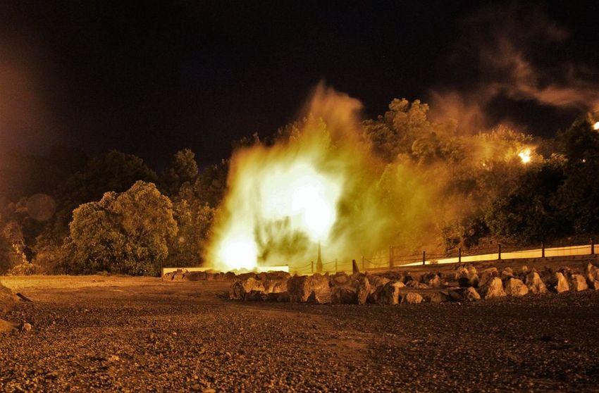 Boiling Water Bursting Bubbles Furnas Glowing Heat - Temperature Hot Hotspring Night Lights Non-urban Scene Outburst Geiser