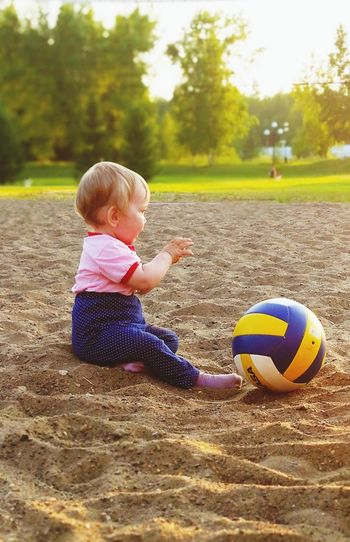 Boy playing with ball