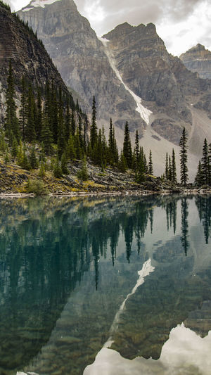 Beauty In Nature Calm Cloud - Sky Day Lakeshore Majestic Moraine Lake  Mountain Mountain Range Nature No People Non-urban Scene Outdoors Reflection Scenics Sky Standing Water Tranquil Scene Tranquility Water Two Is Better Than One My Favorite Place