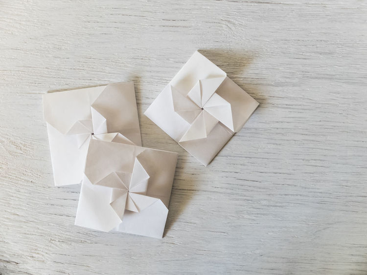 Art And Craft Copy Space Envelope Folded Handmade Ideas Monochromatic Origami Paper Paper View Paper View With MOO View From Above White White Background Wooden Table