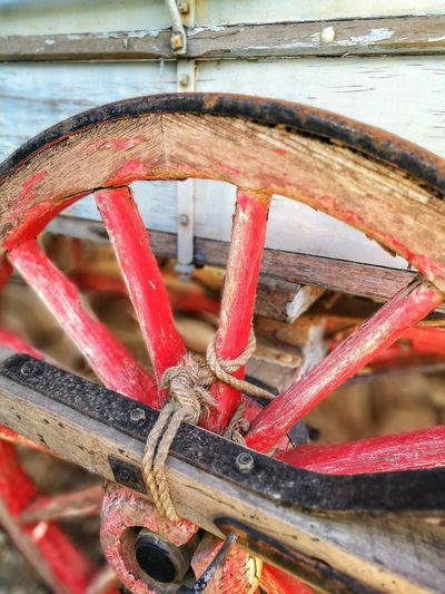Close-Up Of Old Red Wheel