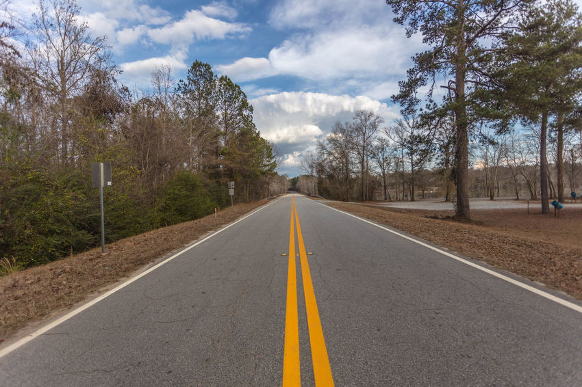 Juliette Road Asphalt Blue Clouds Country Green Paved Road Sky Striped Trees White Yellow