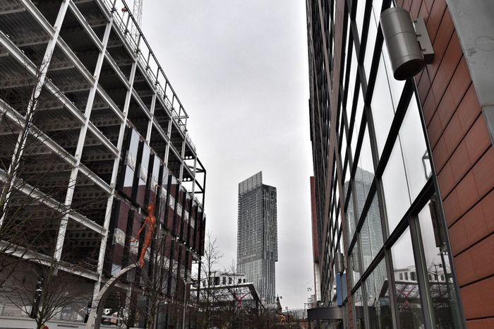 Framed architecture. My Year My View Building Exterior Architecture City Built Structure Skyscraper Low Angle View Sky Outdoors Modern Tower No People Day Cityscape EyeEm Masterclass BeethamTower Getty X EyeEm Beetham Tower EyeEm Best Shots Amazing Architecture Manchester Eye4photography  City Buildings EyeEm Gallery Framed Shot