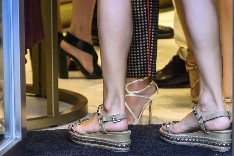 Entering the new Jimmy Choo retail shop in Madrid 2017. Body Part Close-up Detail Editorial  Editorial Fashion Entering Fashion Female Footwear Glamour High Heels High Platform Human Body Part Human Leg Legs Low Section Posing Real People Sandals Shoe Shoes Standing Style Woman Women