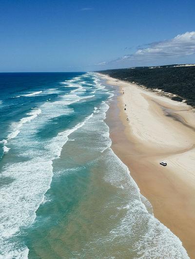 75 Mile Beach Australia Australian Landscape Beach Beauty In Nature Day Fraser Island Horizon Horizon Over Water Idyllic Land Motion Nature Outdoors Scenics - Nature Sea Sky Sport Tranquil Scene Water Wave