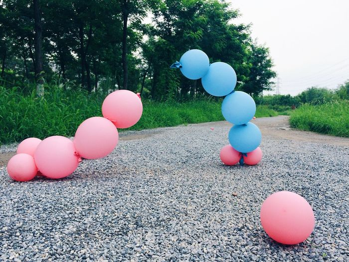 Neon Life Dancing Baloons Afterparty Bizzare Balloon Tree Day Multi Colored Outdoors Celebration No People Pink Color Nature Grass