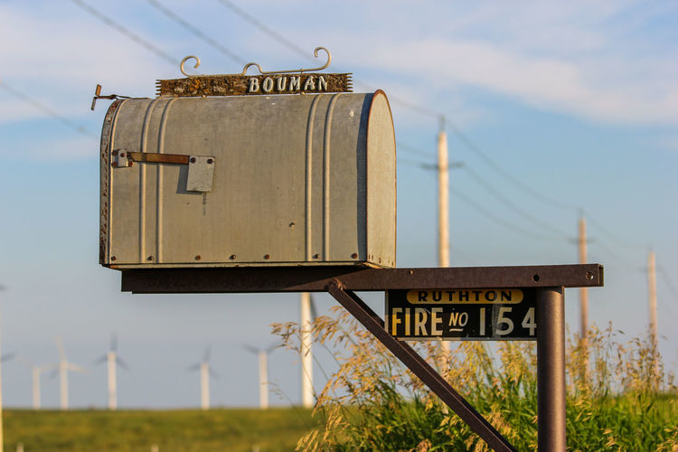 Mailbox Blue Sky Canon60d Canonphotography Galvanized Grass Low Angle View Mailbox Metal Post Powerlines Rural Scene Sky