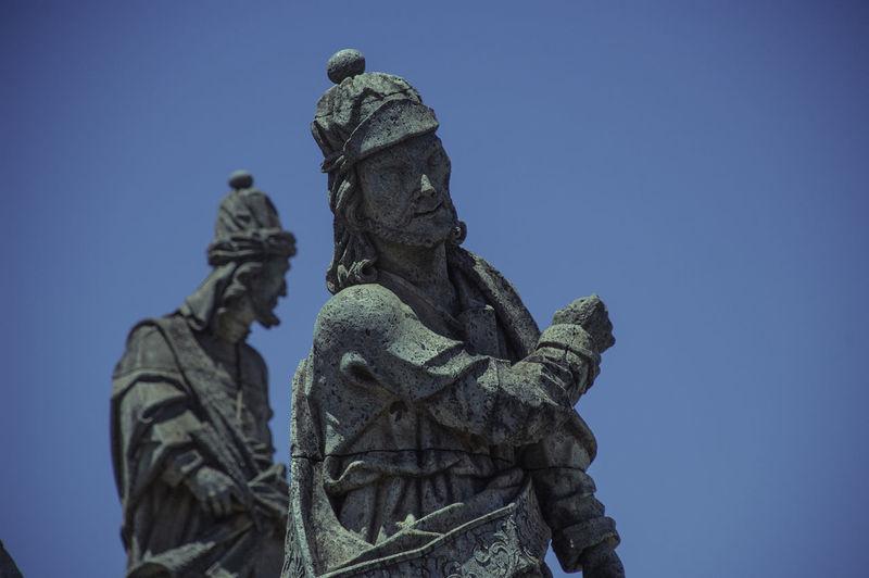 Profetas Aleijadinho Art And Craft Blue Clear Sky Craft Low Angle View Representation Sculpture Sky Statue