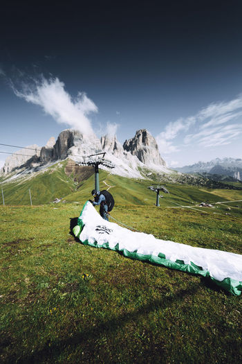 Landscape Tranquility Tranquil Scene Grass Scenics - Nature Environment Sky Outdoors Mountain Range Cloud - Sky Cold Temperature Non-urban Scene Land Green Color Beauty In Nature Mountain Day Italy Travel Destinations Paragliding Summer EyeEm Best Shots EyeEm Exploring Adventure
