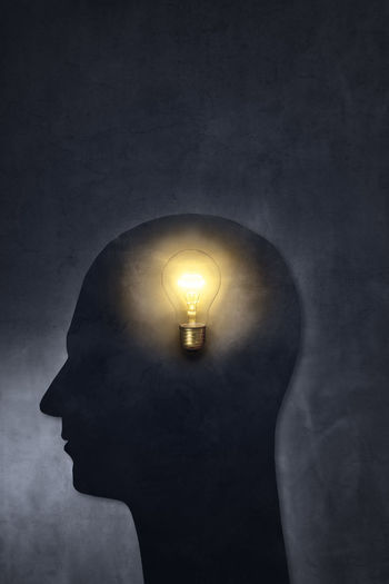 Artistic silhouette of a head with a bulb.
