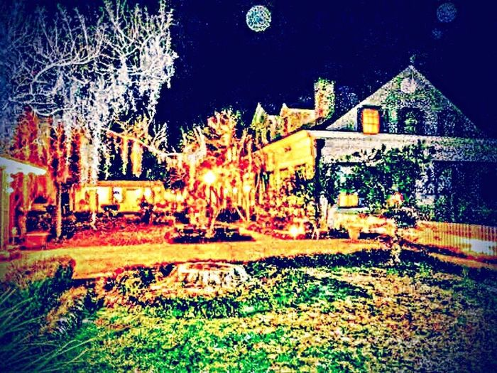 Night Grass Outdoors Illuminated No People Building Exterior Architecture Tree Sky Nature Myrtles Plantation Peaceful View Plantation South Louisiana St Francisville Louisiana Houses And Windows