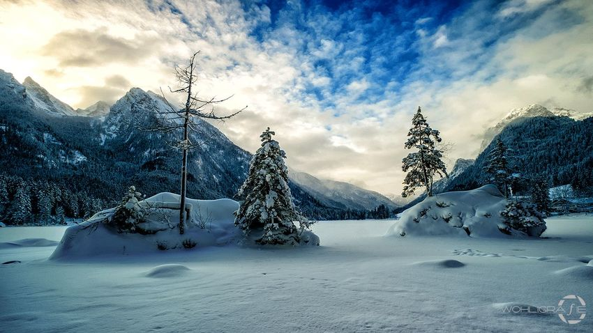 Sunrise over Hintersee Snow Winter Cold Temperature Sky Cloud - Sky Landscape Tree Beauty In Nature No People Outdoors Mountain Nature Day Hanging Out Fuji Nature Taking Photos Scenics Fujifilm_xseries Hintersee Fujifilm Mountain Peak