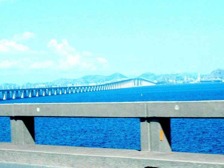 Water Day Outdoors No People Sea Sky Cloud - Sky Architecture Bridge Ponte Bridge - Man Made Structure Ponte Rio Niteroi Niterói Rio De Janeiro Bluesky Céu 80km Mar Azul Traffic Road Trânsito EyeEmNewHere