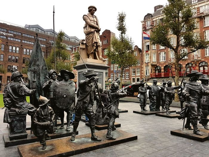 Piazza Rembrandt.. Amsterdam Sculpture Statue King - Royal Person Arts Culture And Entertainment Sky Architecture Human Representation Historic Street Art Art Sculpted My Best Travel Photo