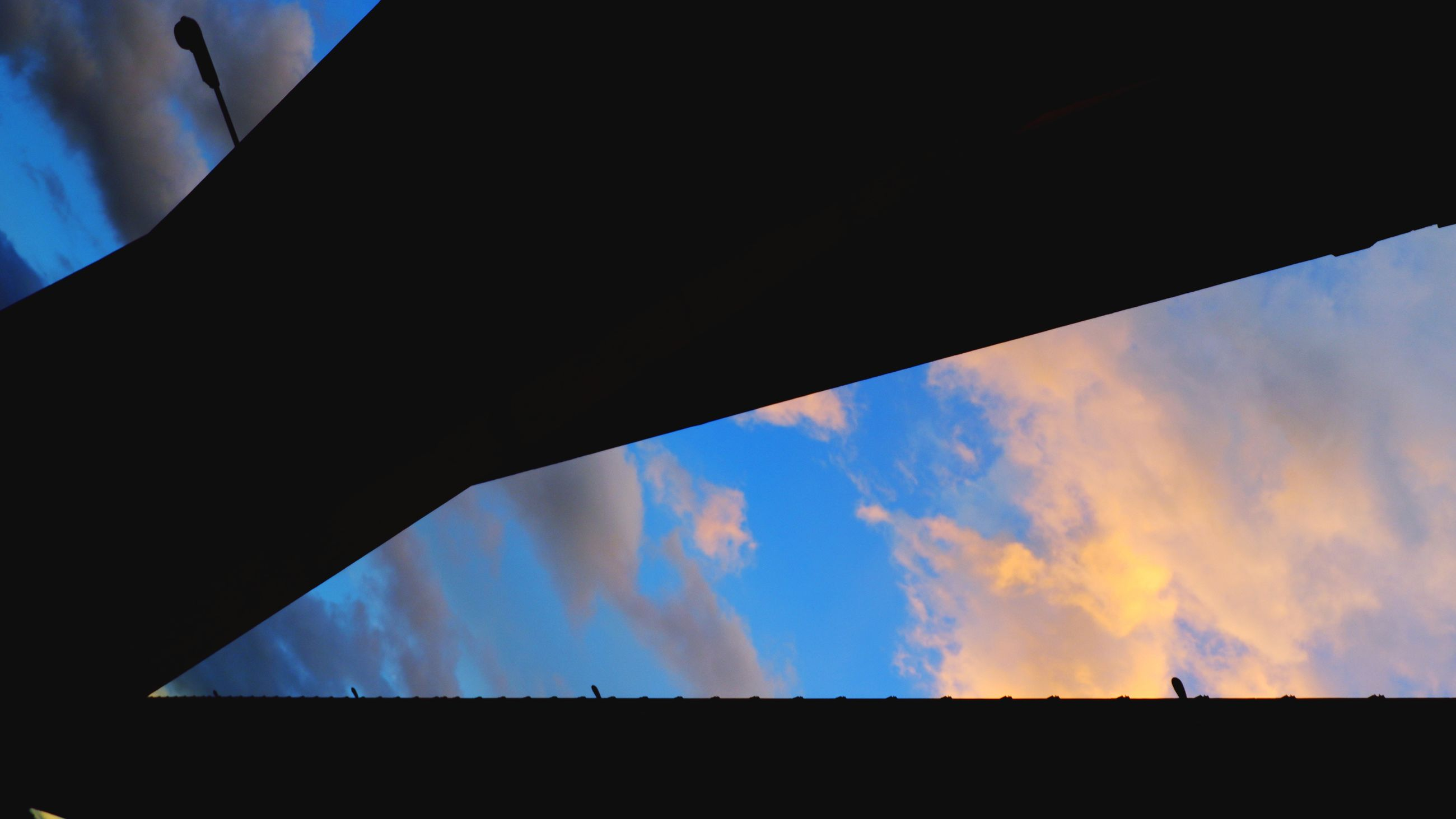 sky, cloud, silhouette, nature, no people, architecture, reflection, screenshot, outdoors, blue, low angle view