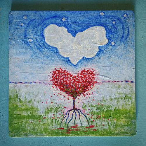 ... Hearts & Roots ... Heart Shape Drawing - Art Product Love Romance Drawn Drawing - Activity Painted Image No People Representing Blue Cloud Stars Surrealism Surreal Art ArtWork My Art Painting Bleeding Heart  Grassland Landscape Acrylic Painting Symbolism