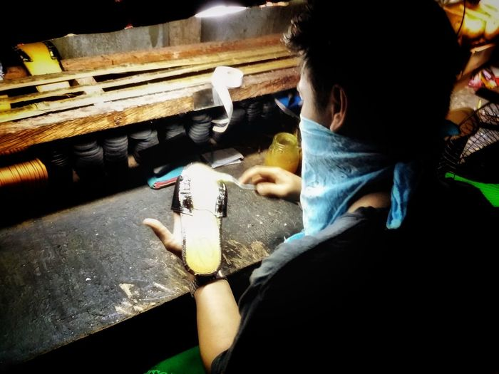 Modern Cobbler Skill  One Person Indoors  Real People People Workshop Craftsman Craftsman Working Cobbler Cobblers' Shop... Shoemaking Sandals Sandal Making Trade Dying Trade Liliw, Laguna Eyeem Philippines People Photography Environmental Portraits Investing In Quality Of Life Business Stories Indoors