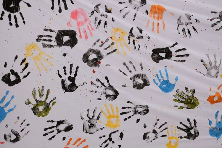 Student Children Multi Colored Backgrounds Full Frame White Background Abstract Close-up Handprint Brush Stroke Fingerprint Modern Art Art Studio Oil Paint Splattered Oil Painting Messy Acrylic Painting Fine Art Painting Graffiti Art And Craft Equipment Ink Well Paint Painted Image Ink Watercolor Painting