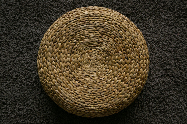 High angle view of hat on rug