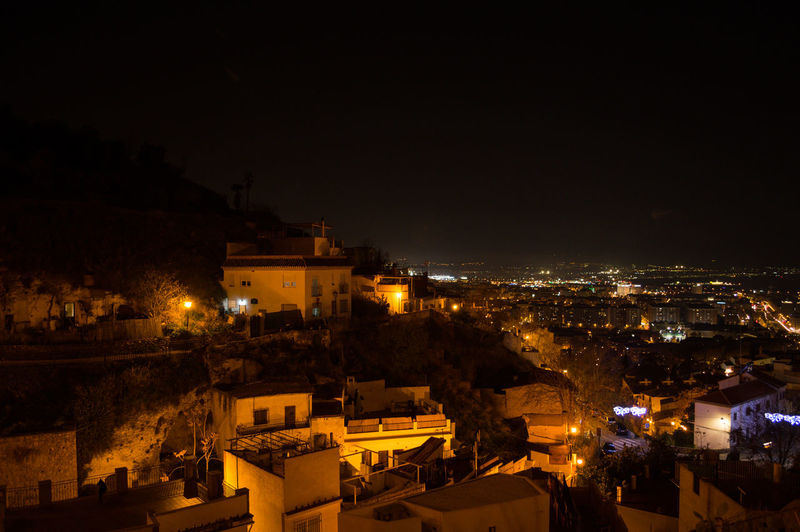 Granada Granada, Spain Andalucía Albaicin Albaycin Architecture Building Exterior Illuminated Night City Built Structure Building Sky Residential District Nature No People Cityscape High Angle View Copy Space Outdoors Town Travel Destinations City Life