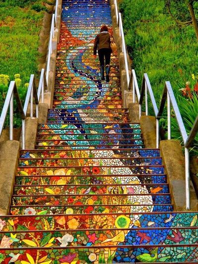 San Francisco Tiled Steps Real People High Angle View Steps And Staircases Day Architecture Men Full Length Outdoors Lifestyles Women One Person Nature People