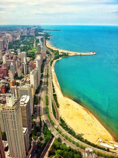 Lake Shore Drive Lake Water Fluffy Clouds Sky And Clouds Beach Skyline Chicago Enjoying Life Hello World Traffic Street Photography Check This Out Lincoln Park Sand Eyeem Photo
