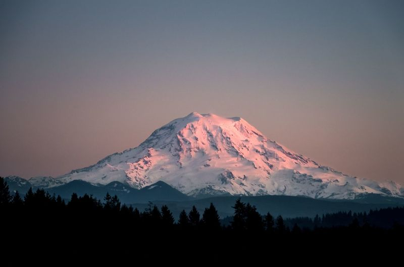 Outdoors Pacific Northwest  Washington Northwest Cascade Mount Rainier Rainier Mountain Beauty In Nature Snow Scenics - Nature Sky Tranquil Scene Winter Tranquility Cold Temperature Landscape Snowcapped Mountain Non-urban Scene Sunset Environment Nature Mountain Range