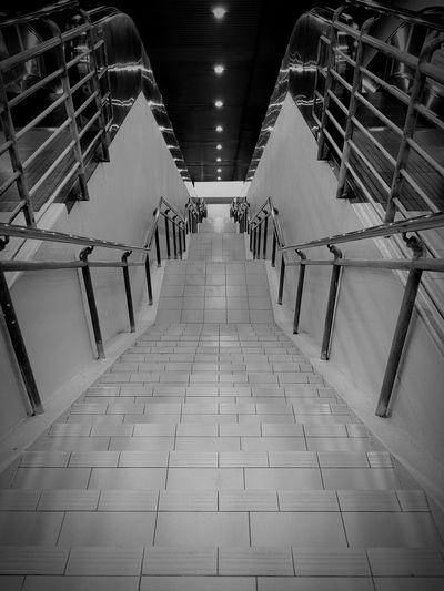 Long flight of stairs Watchyourstep Stairs Public Transportation LRT Dangwangi Indoors  No People Illuminated Architecture Day