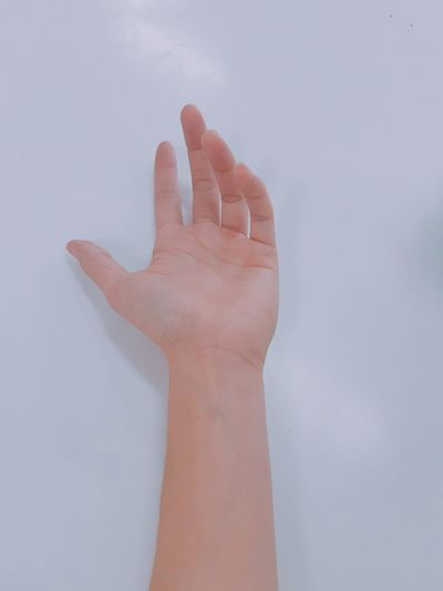 Close-up of hand over white background