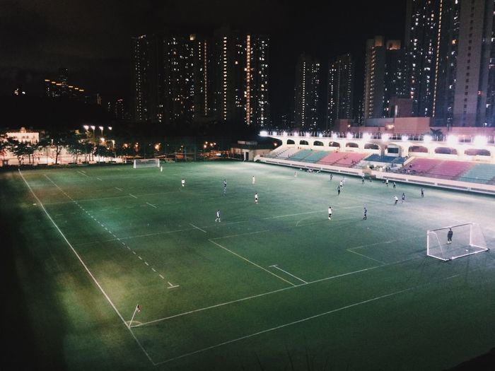 High angle view of soccer field at night