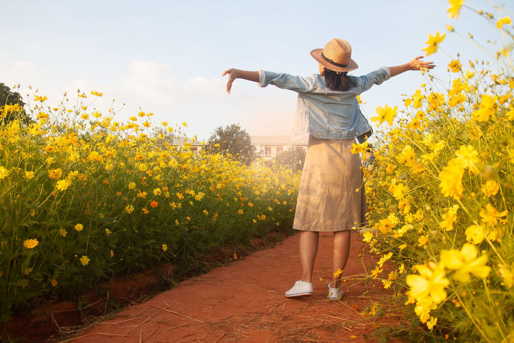 Rear view of person standing by yellow flowering plants