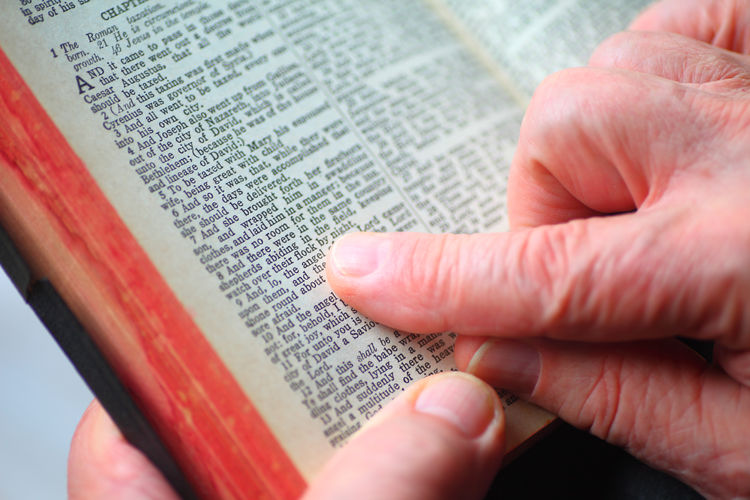 A man reads Luke in a vintage Bible Hand Close-up Text Reading Indoors  Communication Studying Religious  Bible Verses Spiritual Words Christmas Story Chapter Holding Vintage Book Belief Holy Book Natural Light Point Of View Scriptures Studio Shot Overhead