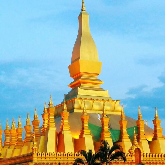 Religion Architecture Sky Pagoda Gold Colored Place Of Worship Yellow Gold No People Cultures Johnnelson Vientiane John Nelson Architecture Buddhist Tranquility Gold Outdoors That Luang Stupa Laos Life As I See It