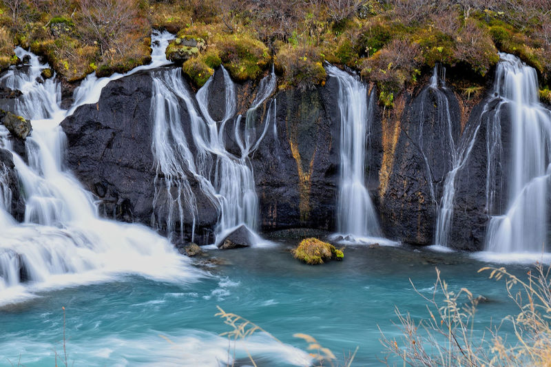 Hraunfossar Hraunfossar Waterfall Iceland Iceland Waterfalls Beautiful Iceland Beauty In Nature Blue Water Blurred Motion Long Exposure Nature Outdoors River Scenics Travel Destinations Water Cascade Waterfalls💦