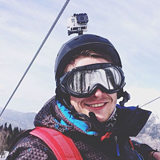 Looking At Camera Ride Boarding Selfie Snow Only Men Winter Ski Goggles Adventure Headwear Cloud - Sky Mountain Front View Smile People Galaktica Ski Lift In Russia Fotoseven