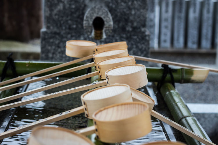 Close-up of bamboo dippers