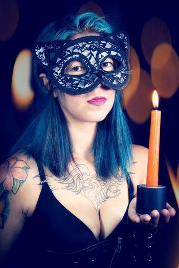 Catli Antifaz Blue Hair Gata Luz Candle Cat ♡ Women