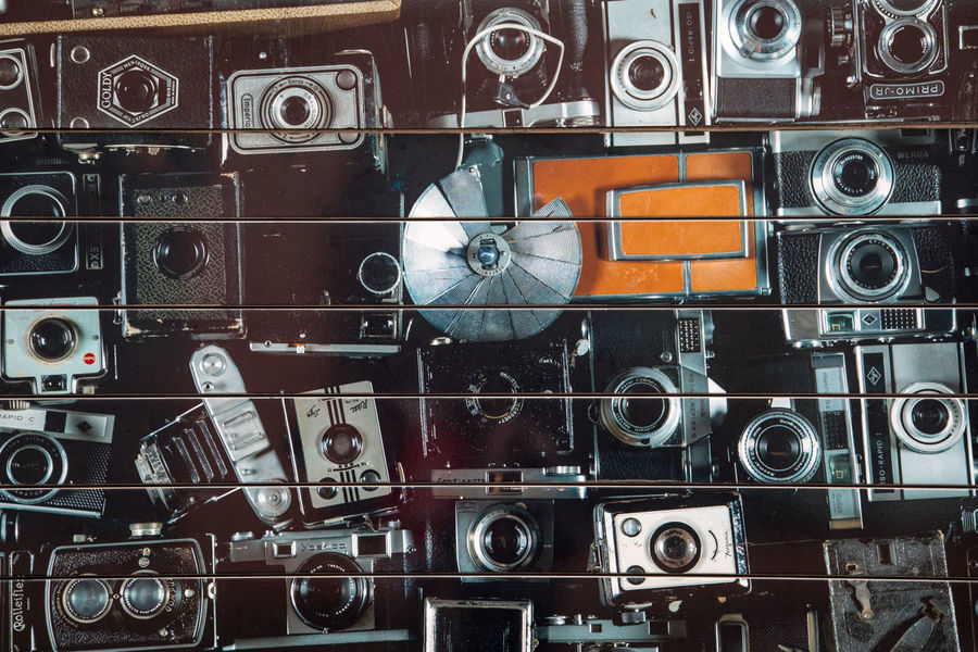 Technology Full Frame Large Group Of Objects Indoors  Backgrounds Music Variation No People Directly Above Photography Themes Choice Camera - Photographic Equipment Still Life Close-up Retro Styled Arts Culture And Entertainment Collection Abundance Studio Shot