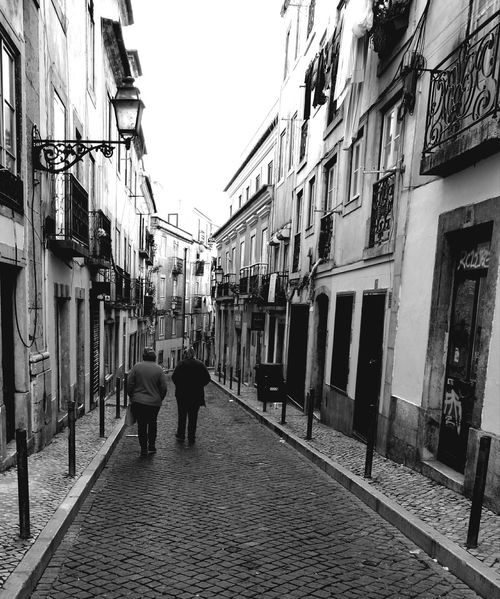 Walking Rear View Built Structure Real People Outdoors Typical Portuguese Architecture Bairro Alto  Bairro Alto, Lisboa Streetphoto_bw B&W Collections Blackandwhite Photography